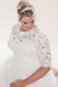 Strapless wedding dress with bolero
