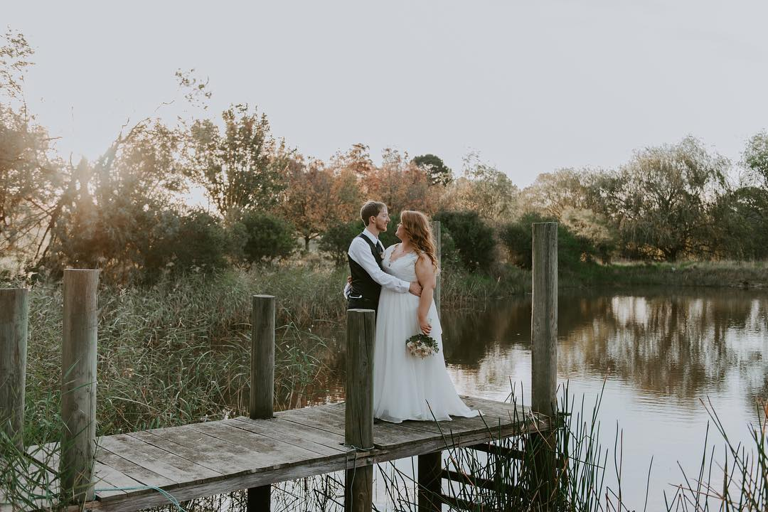 Real bride wearing the Andrea