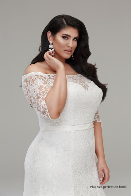 Lace wedding dress nichole plus size wedding dresses for Plus size shapewear for wedding dresses
