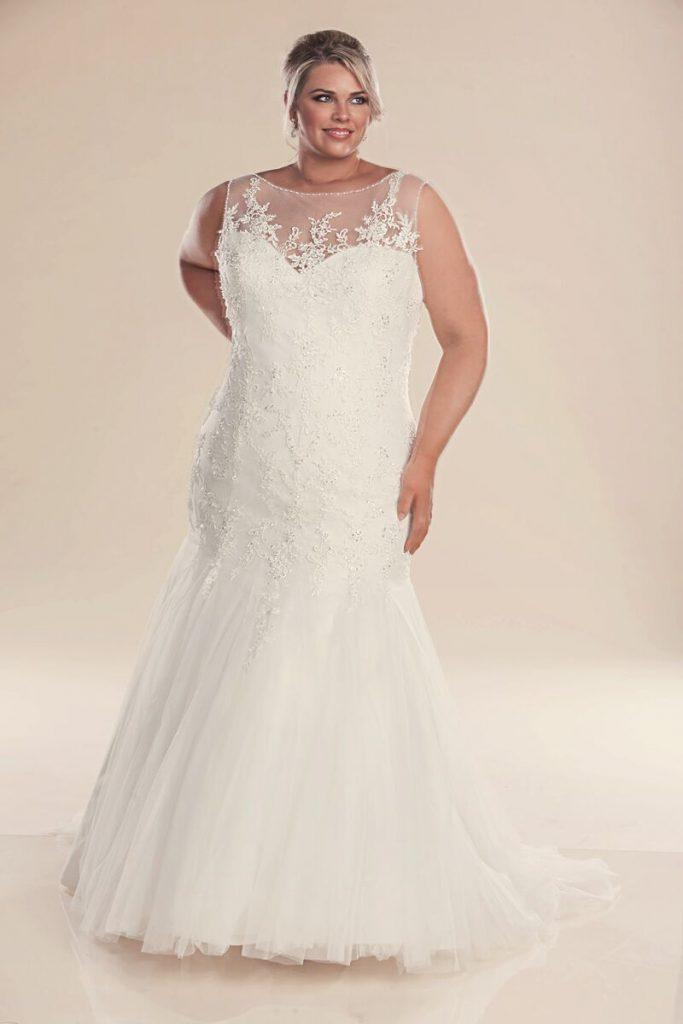 plus size dress for wedding fit and flare wedding dress genevieve wedding dresses 6664
